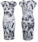 New Womens 2015 Sexy Party Christmas Sixties MonoChrome Printed Midi Dress