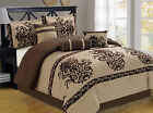 7 Piece Chocolate/Taupe Flocked Comforter Set
