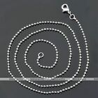 2pc White Gold Silvery Ball Link Chain 1.5mm Necklace 17.5-24''