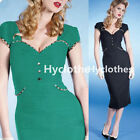 Charming Women Sexy Pinup Rockabilly Bodycon Cocktail Party Sheath Dress Y729