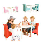 New Kids Childrens Toddler Wooden White Table and Indy Blue Chair Chairs Set