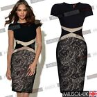 Womens Vintage Celeb Black Contrast Lace Cocktail Party Bodycon Dress Size 81024