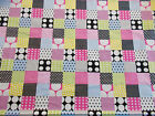 Spots dots and squares multi coloured 100% cotton POPLIN Fabric material