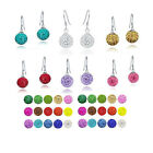 10X 19 Colors Austria Crystal Disco Ball Beads 925 Sterling Silver Hook Earrings