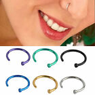 2 x Stainless Steel Nose Open Hoop Ring Studs Body Piercing Jewelry