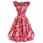 Whispering Ivy Pink Floral Flared 50s Vintage Party Prom Tea Dress