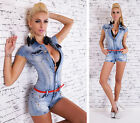 Sexy JEANS HOT PANTS OVERALL Jumpsuit BLUE WASHED Gr. 34, 36, 38, 40, 42