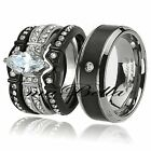 His Titanium Hers Black Stainless Steel AAA CZ Wedding Engagement Ring Band Set