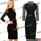 Fashion Womens Sexy Hollow Out Neck 3/4 Sleeve Pencil Party Cocktail Wears Dress