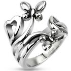 New Stainless Steel 21mm Extruding Nature Butterflies/Hearts Ring,Size 5-8(4390)