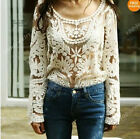 Sexy Semi Sheer See Through Sleeve Embroidery Floral Lace Crochet T-Shirt