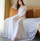 Women's Lace Maxi Dress huge sweep Hollow out handmade embroidery Wedding Dress