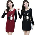 Fashion New Womens Knitting Long Sleeve Splicing Lady Sweater Short Mini Dress