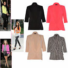 Women Ladies 3/4 Sleeve plain Classic Fitted Open Pocket Tailored Blazer Jacket