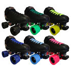 Riedell R3 Flat Out Quad Roller Derby Speed Skates Pink Ice Blue Green Yellow