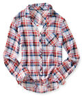 Aeropostale Womens Plaid Cut Out Button Up Shirt