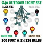 100 Foot G40 Outdoor Globe Patio String Lights -Set of 125 G40 Bulbs- All Colors