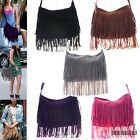 Women's Cute Casual Large Suede Faux Leather Tassel Cross Body FRINGE BAG Purse