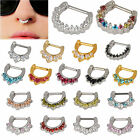 1pc 1.2/1.6mm Septum Clicker Nose Daith Rings CZ Gem Nose Piercing 316L Steel