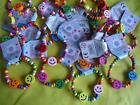 GIRLS WOODEN BRACELETS - SMILEY BEADS - PARTY LOOT BAG FAVOURS TOY JEWELLERY