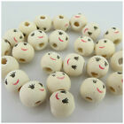 NEW ARRIVAL WOODEN ROUND BEADS WITH SMILEY FACE DESIGN-9MM - JEWELLERY MAKING