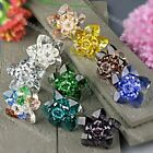 1PC Crystal Glass Golden Flower Bead Adjustable Finger Ring Jewelry Gift NEW
