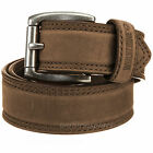 "Wolverine Leather Belt Men's 1 1/2"" Double Stitched WV7668 Roller Buckle Brown"