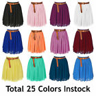 3XL Women Lady Chiffon Pleated Mini Skirts Retro High Waist Double Layer 25Color