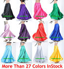 M Women Lady Satin Full Circle Belly Dance Skirt Costume Tribal Gypsy 27 Color