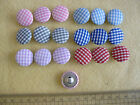 9 x Gingham Fabric Covered Buttons /  choice of colours / craft / shabby chic
