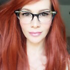Vintage Style Cat Eye Gold Crystals Ombre Fashion PinUp Eyeglasses Frames 1317 S