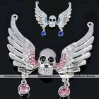 Rhinestone Crystal Angel Wing Skull Bead Pendant Fit Necklace Making DIY Jewelry