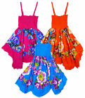 Girl's Floral Handkerchief Hanky Hem Strappy Summer Sun Dress 3-10 Years NEW