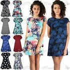 Womens Ladies Printed Summer Sunny Cap Sleeve Flare Tunic Swing Dress Plus Size