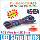 4-Pin 4 Color 4 Wire Extension Cable Connect Cord For 3528/5050 LED RGB Strip UK