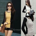 Hot  Womens Round Neck Color Blocking Button Bottoming Shirt Slim T-Shirt Tops