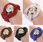 New Fashion Women Crystal Multilayer Leather Bracelet Quartz Analog Wrist Watch  image