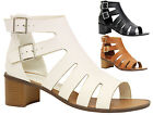 Ladies Womens Mid Heel Ankle Buckle Strappy Cut Out Gladiator Sandals Shoes Size