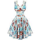 Hell Bunny Tiki Hawaii Floral Pinup Kitsch Rockabilly 50s Swing Prom Dress