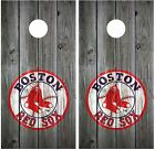 Boston Red Sox Distressed Wood (grey) Vintage Cornhole Board Wraps Decals Skins