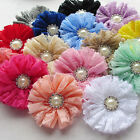 5PCS 75mm Chiffon Bows Flowers w/ Rhinstone Button Appliques Wedding Decor A430
