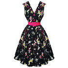 Womens Kitsch 50s Space Girl Print Vintage Rockabilly Flared Swing Dress