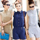 2015 Summer Button Sleeveless Jumpsuit Sexy Women Chiffon Rompers Short Pant WI