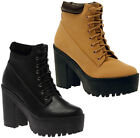 Ladies Womens Chunky Heel Cleated Sole Platform Lace Up Ankle Boots Shoes Size
