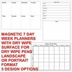 Magnetic Dry Wipe Week Planners + Dry Wipe Pen 7 Day Planner with Custom Designs