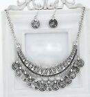 Ethnic Style Antique Coin Statement Bib Chain Hoop Earrings Pendant Necklace Set