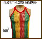 MENS 100% COTTON STRING MESH NET VEST RASTA JAMAICAN STRIPES size M L XL
