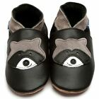 Inch Blue Girls Boys Luxury Leather Soft Sole Baby Shoes - Raccoon Black
