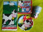 1st Birthday FARM ANIMALS TABLEWARE 8 or 16 PARTY cups,napkins,plates,tablecover