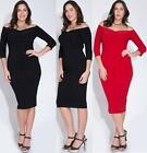 SEXY PLUS SIZE OFF THE SHOULDER DRESS BodyCon Stretch Long Party Sleeve 1X 2X 3X